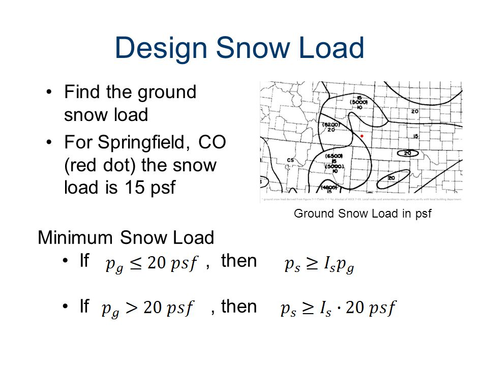 Design Snow Load Find the ground snow load