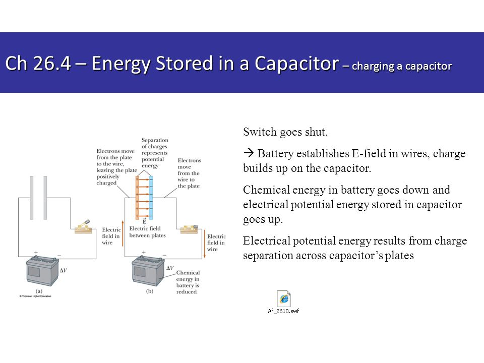 Ch 26.4 – Energy Stored in a Capacitor – charging a capacitor