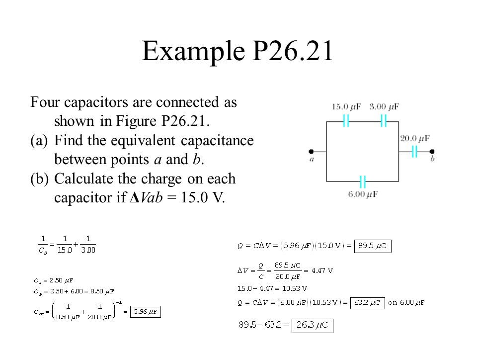 Example P26.21 Four capacitors are connected as shown in Figure P26.21. Find the equivalent capacitance between points a and b.