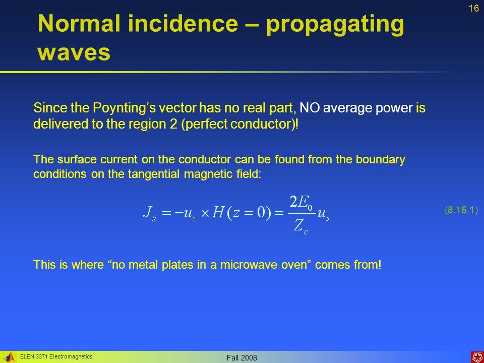 Normal incidence – propagating waves
