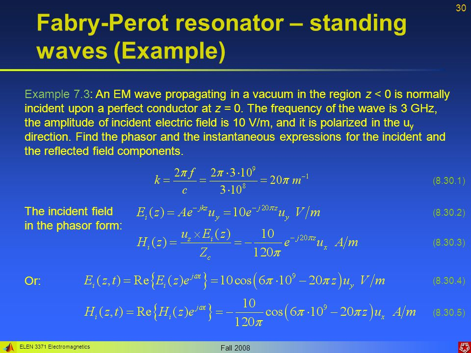 Fabry-Perot resonator – standing waves (Example)