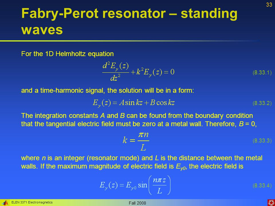 Fabry-Perot resonator – standing waves