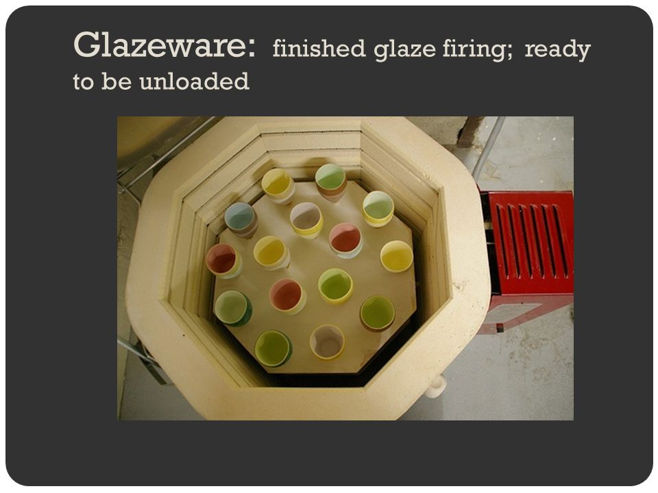 Glazeware: finished glaze firing; ready to be unloaded