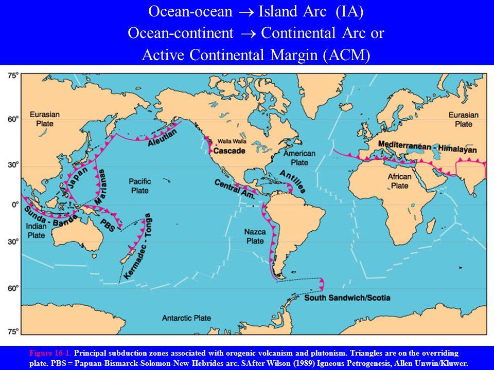 Ocean-ocean  Island Arc (IA) Ocean-continent  Continental Arc or