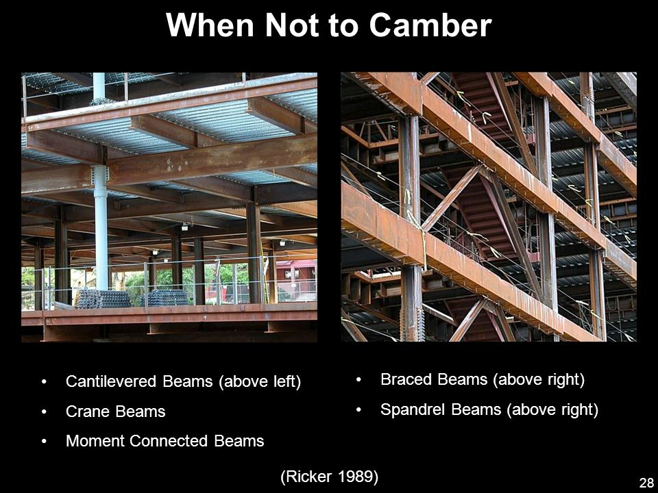 When Not to Camber Cantilevered Beams (above left)