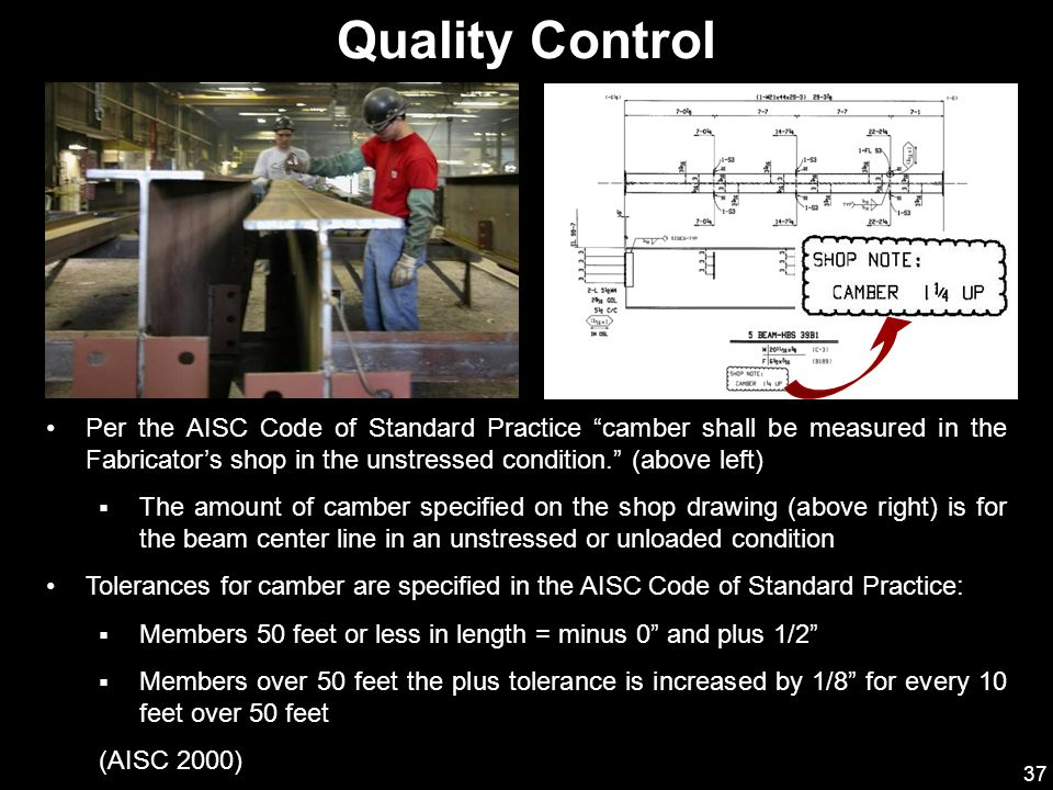 Quality Control Per the AISC Code of Standard Practice camber shall be measured in the Fabricator's shop in the unstressed condition. (above left)
