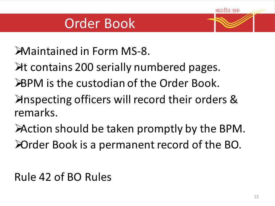 Order Book Maintained in Form MS-8.