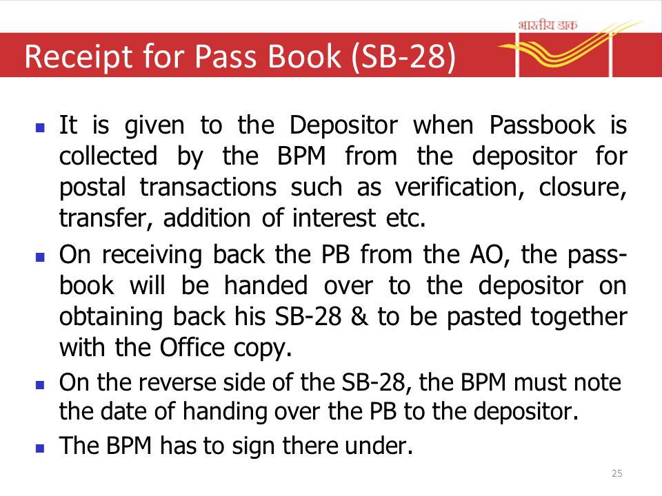 Receipt for Pass Book (SB-28)