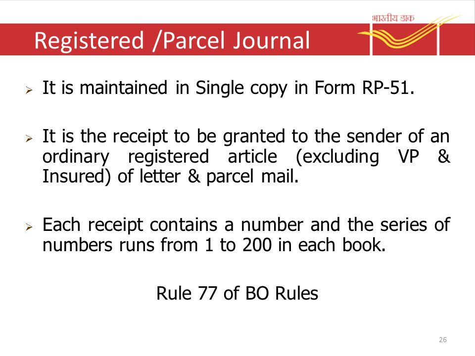 Registered /Parcel Journal