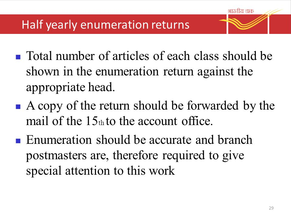 Half yearly enumeration returns