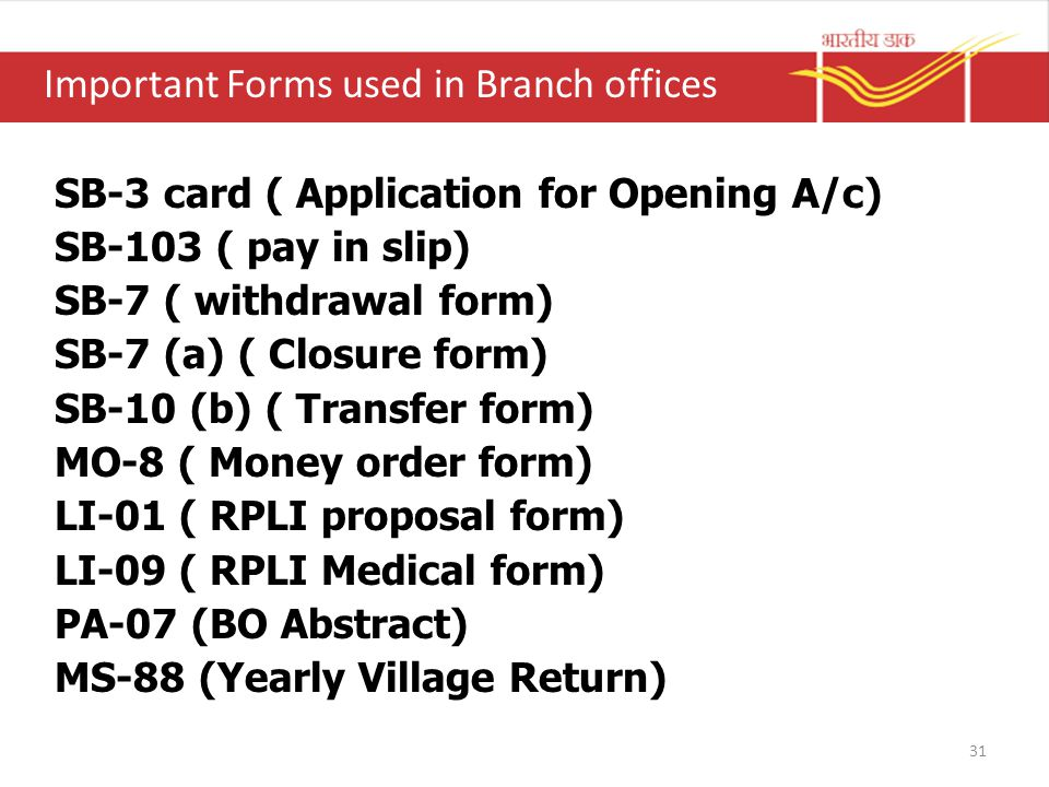Important Forms used in Branch offices