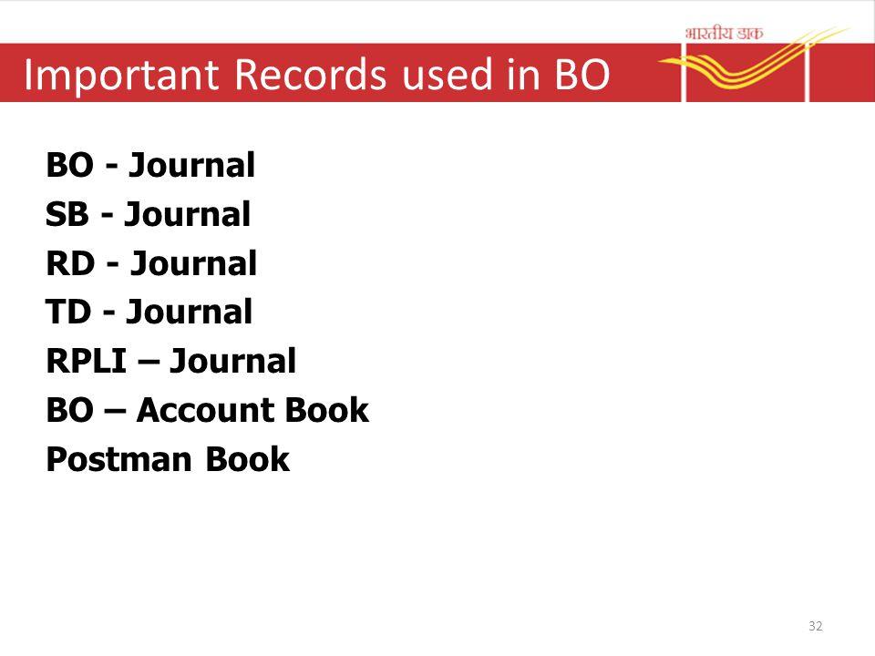 Important Records used in BO