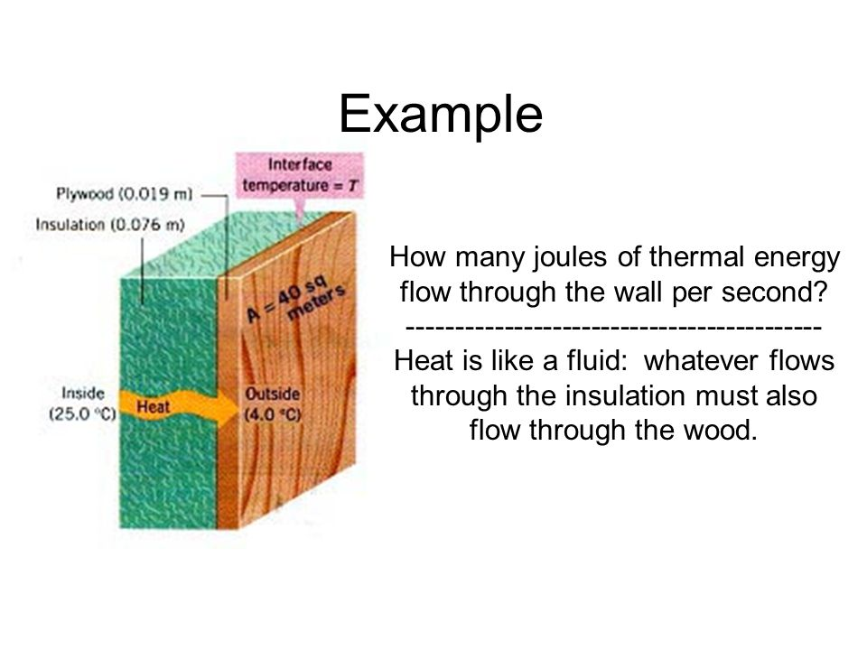 Example How many joules of thermal energy flow through the wall per second -------------------------------------------