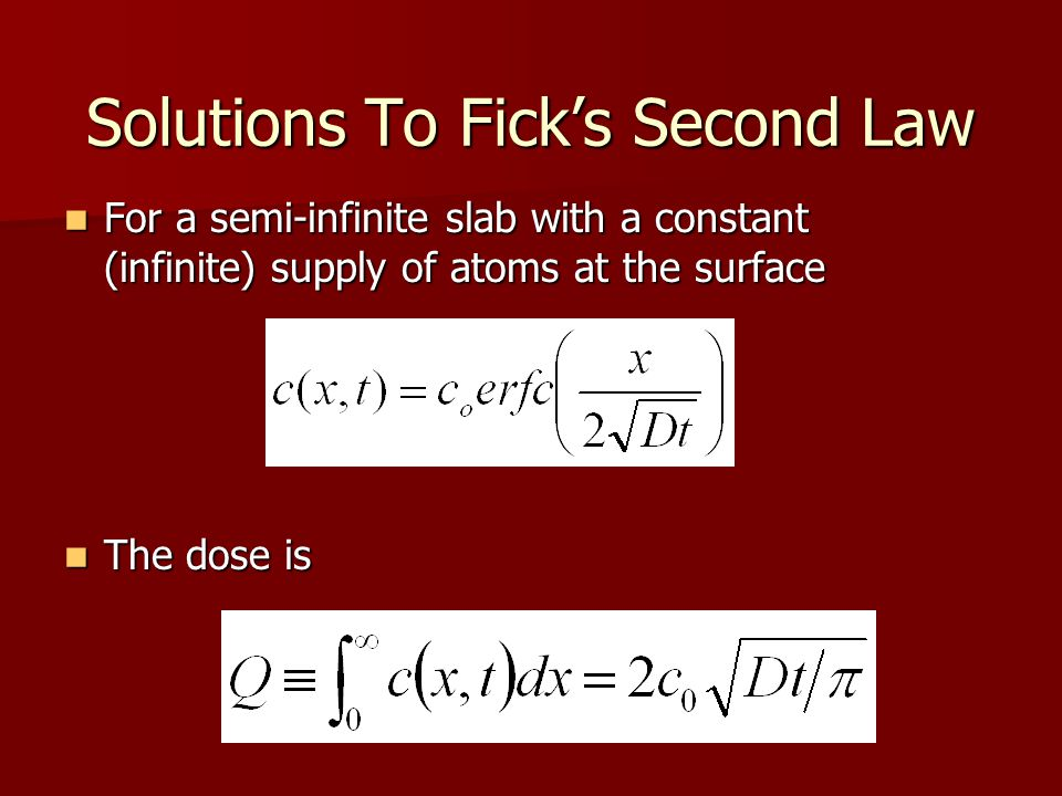 Solutions To Fick's Second Law