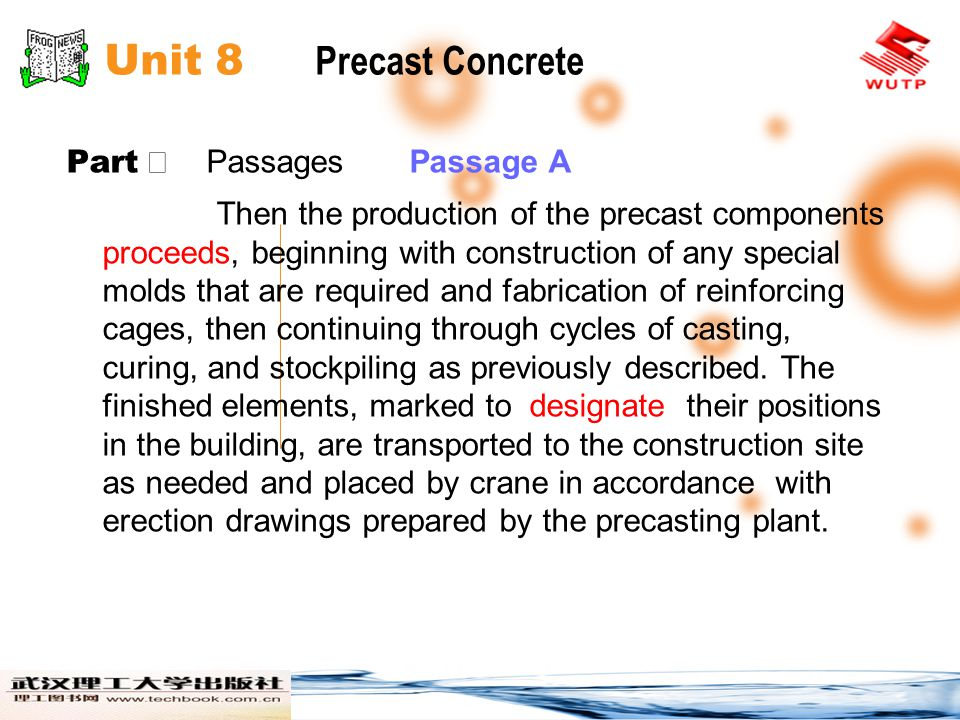 Unit 8 Precast Concrete Part Ⅱ Passages Passage A