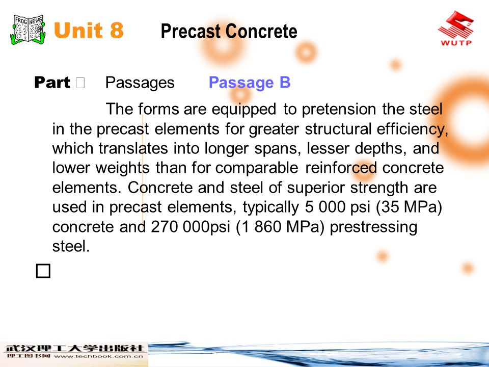 Unit 8 Precast Concrete  Part Ⅱ Passages Passage B