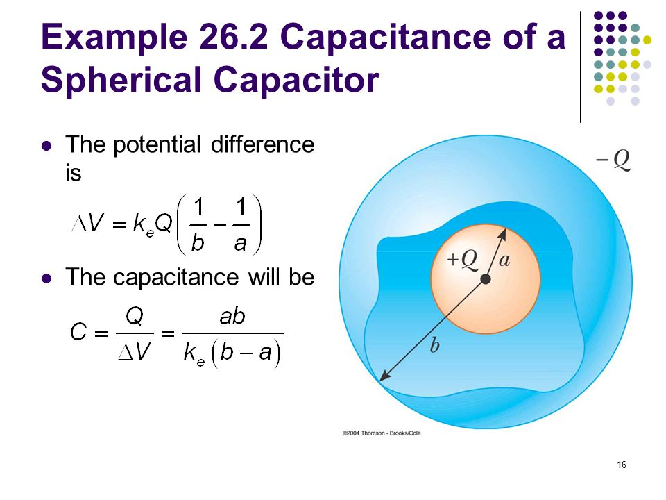 Example 26.2 Capacitance of a Spherical Capacitor