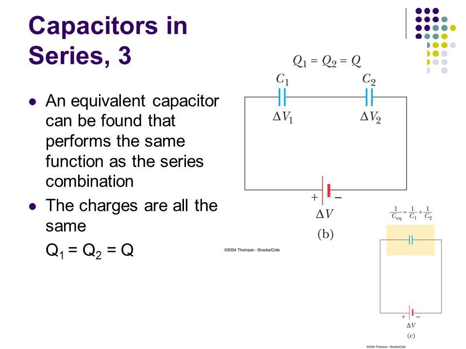 Capacitors in Series, 3 An equivalent capacitor can be found that performs the same function as the series combination.