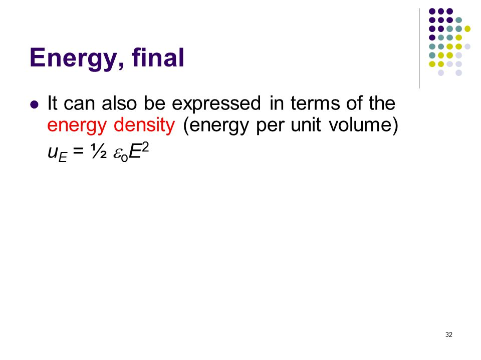 Energy, final It can also be expressed in terms of the energy density (energy per unit volume) uE = ½ eoE2.