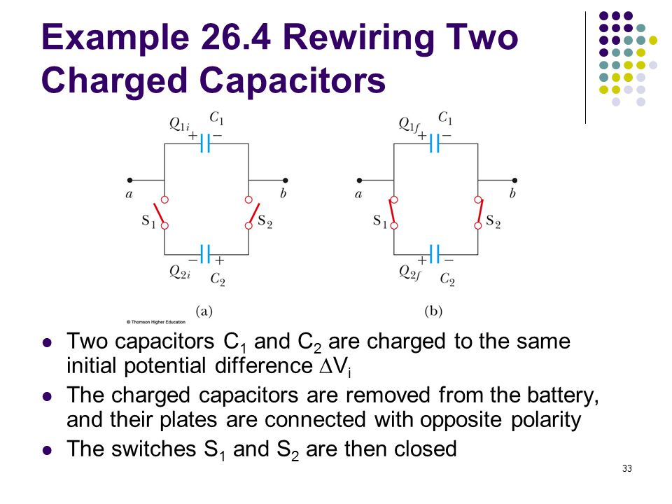 Example 26.4 Rewiring Two Charged Capacitors