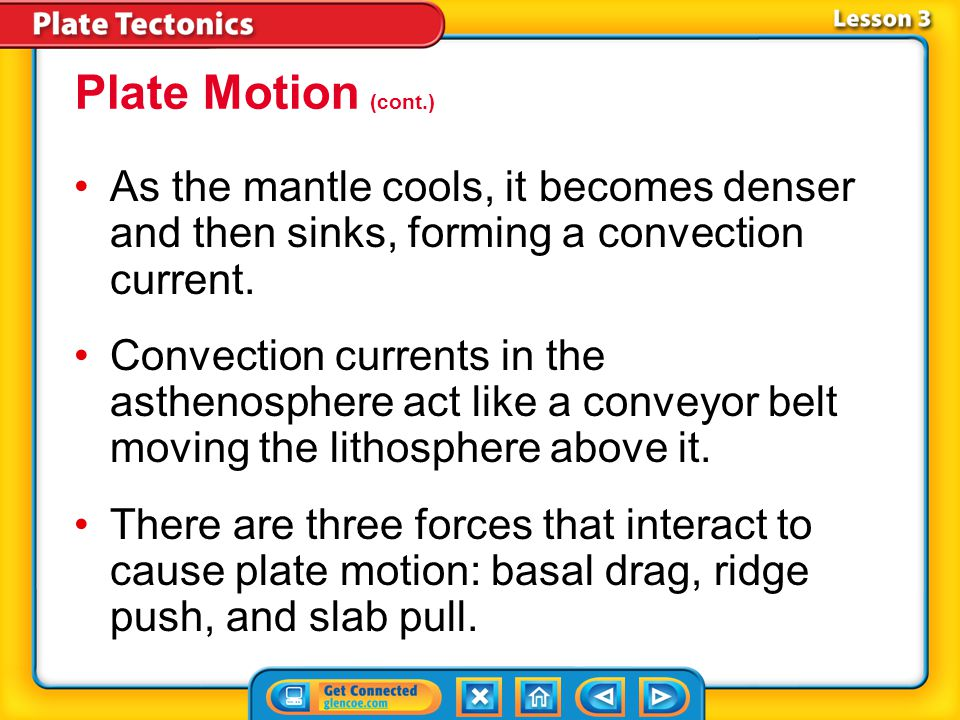 Plate Motion (cont.) As the mantle cools, it becomes denser and then sinks, forming a convection current.