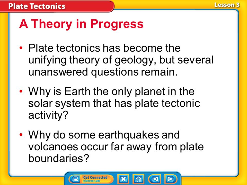 A Theory in Progress Plate tectonics has become the unifying theory of geology, but several unanswered questions remain.
