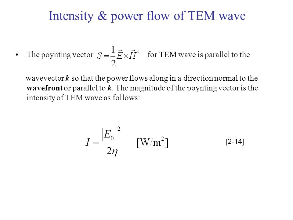 Intensity & power flow of TEM wave