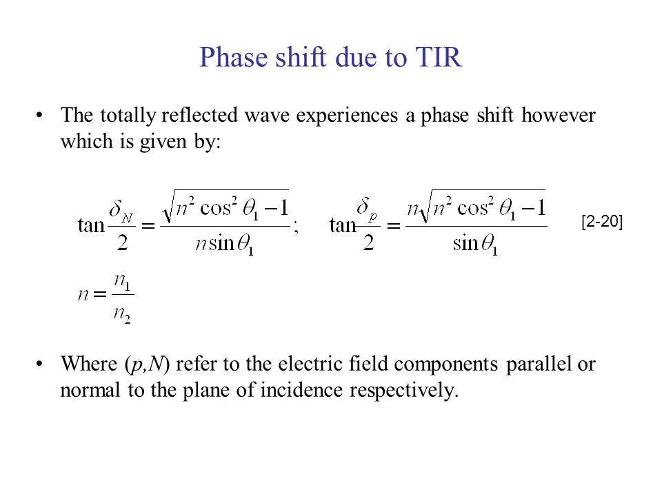 Phase shift due to TIR The totally reflected wave experiences a phase shift however which is given by: