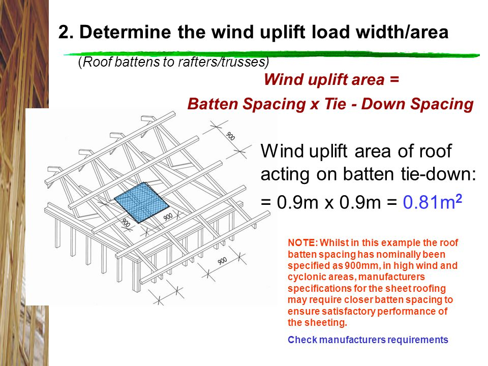 2. Determine the wind uplift load width/area