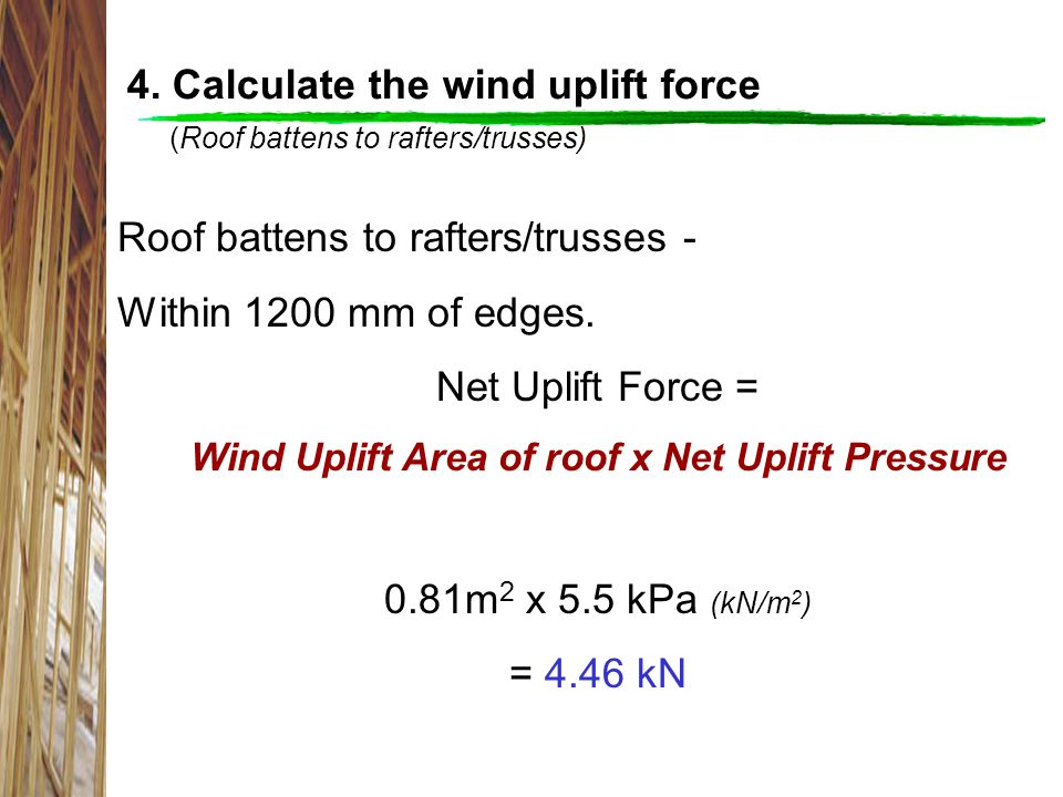 Wind Uplift Area of roof x Net Uplift Pressure