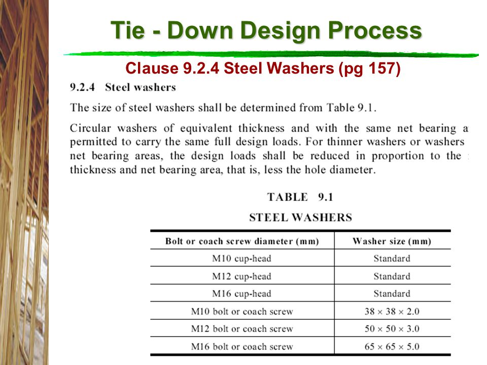 Tie - Down Design Process Clause 9.2.4 Steel Washers (pg 157)