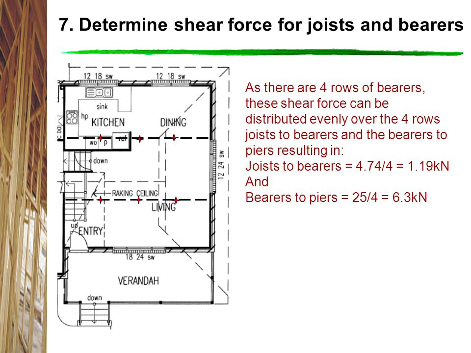 7. Determine shear force for joists and bearers