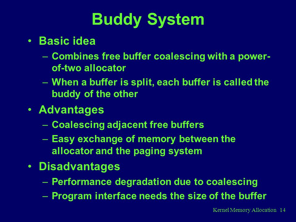 Buddy System Basic idea Advantages Disadvantages