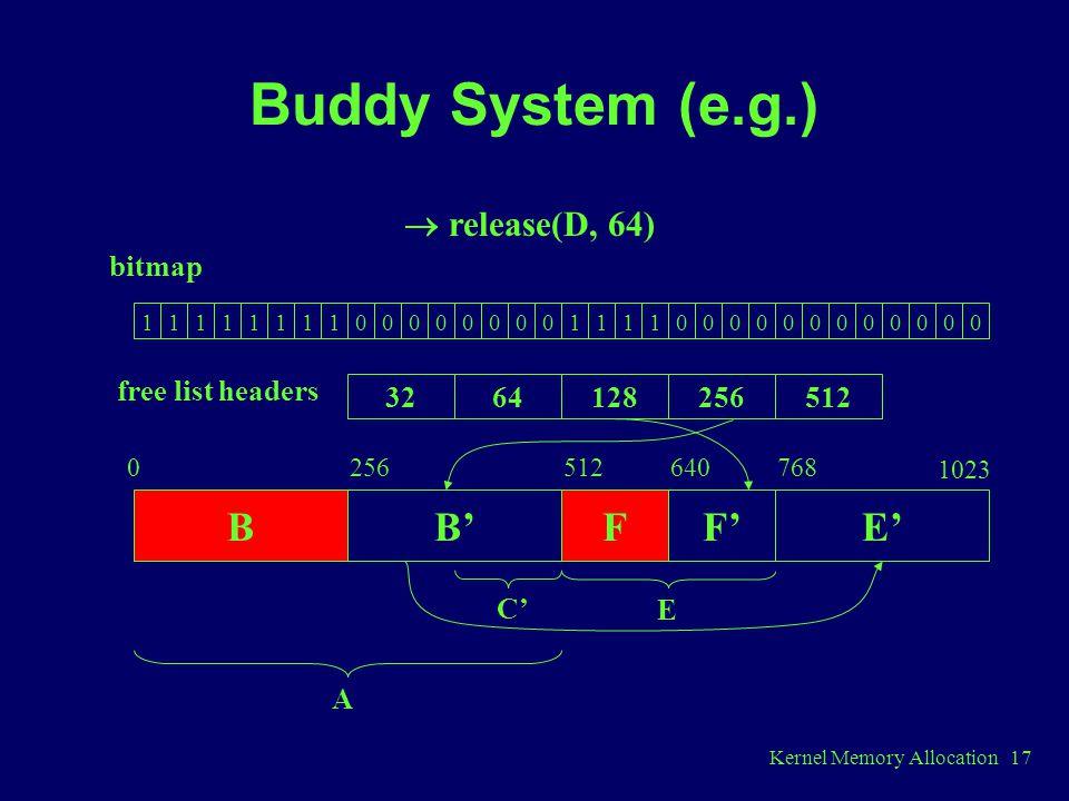 Buddy System (e.g.) B B' F F' E'  release(D, 64) bitmap