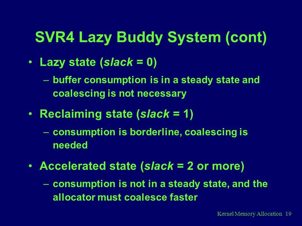 SVR4 Lazy Buddy System (cont)