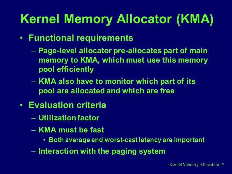 Kernel Memory Allocator (KMA)