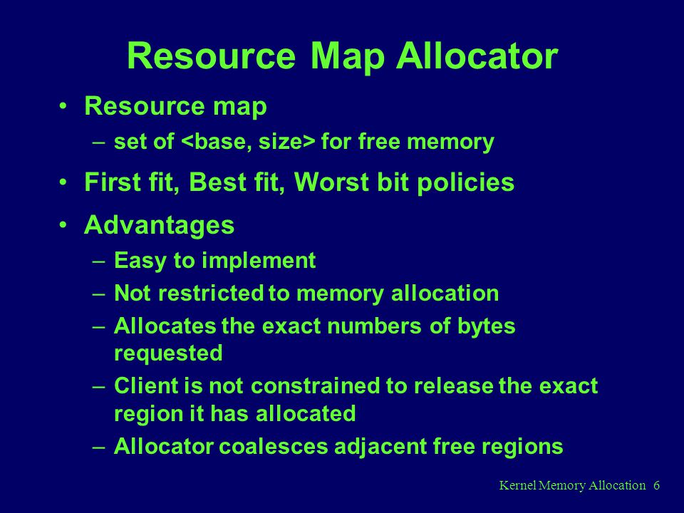 Resource Map Allocator