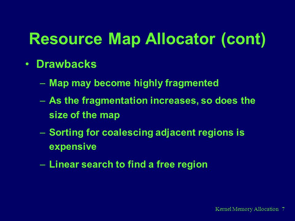 Resource Map Allocator (cont)