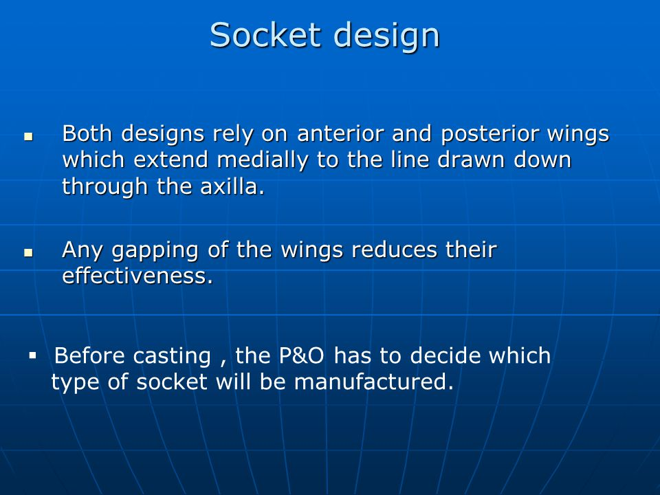 Socket design Both designs rely on anterior and posterior wings which extend medially to the line drawn down through the axilla.