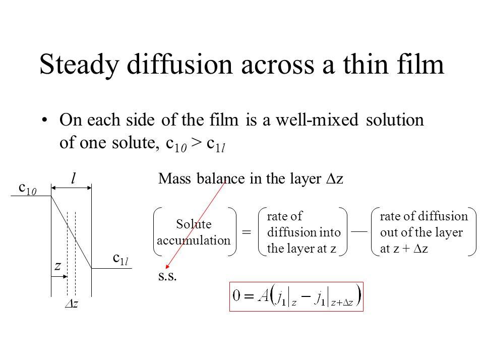 Steady diffusion across a thin film