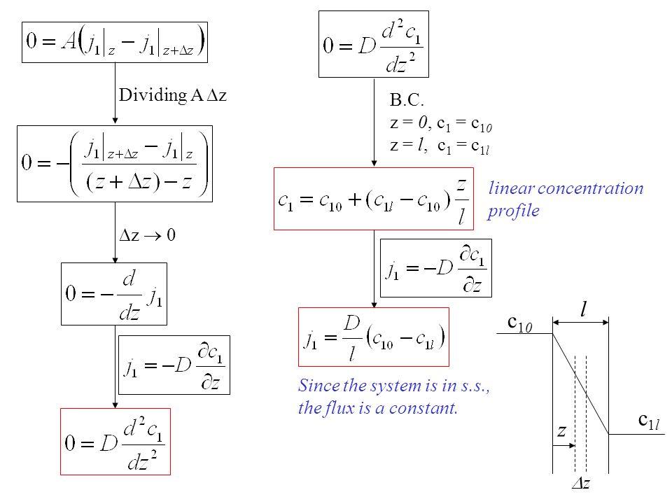 l c10 c1l z Dividing A z B.C. z = 0, c1 = c10 z = l, c1 = c1l