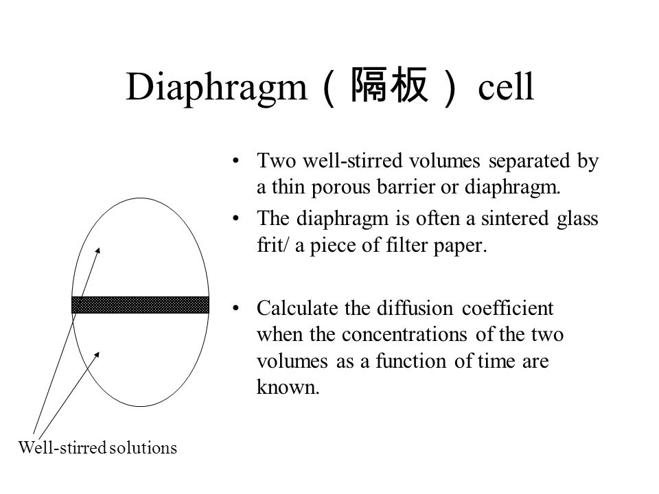 Diaphragm(隔板) cell Two well-stirred volumes separated by a thin porous barrier or diaphragm.