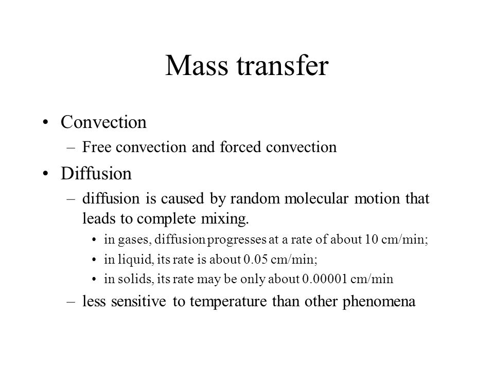 Mass transfer Convection Diffusion