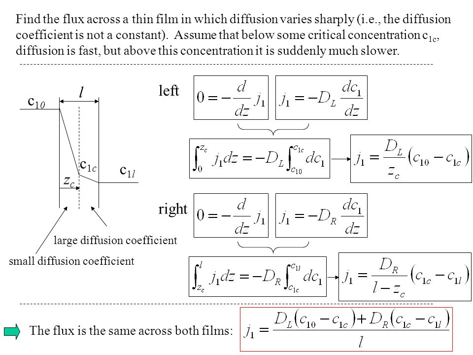 Find the flux across a thin film in which diffusion varies sharply (i