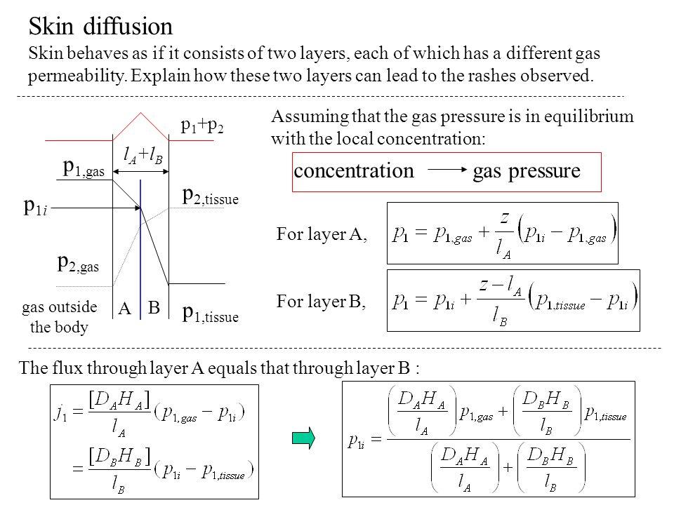 Skin diffusion p1,gas p2,gas p2,tissue p1,tissue p1i concentration