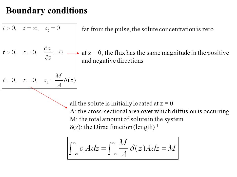 Boundary conditions far from the pulse, the solute concentration is zero.