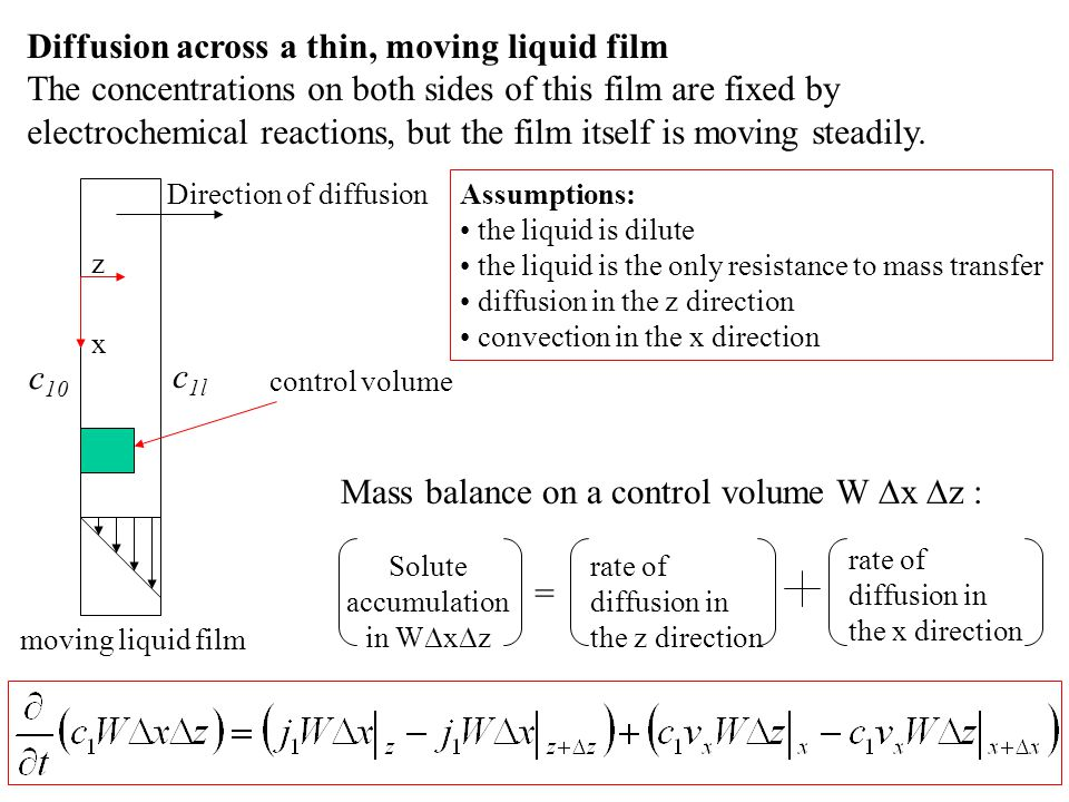 Diffusion across a thin, moving liquid film