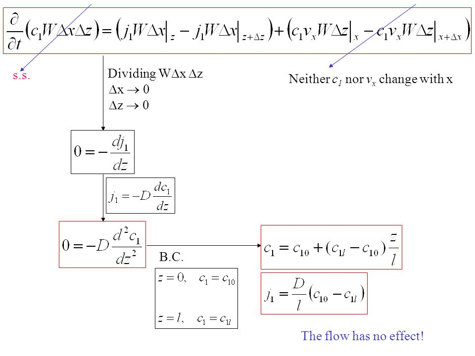 s.s. Dividing Wx z Neither c1 nor vx change with x x  0 z  0 B.C. The flow has no effect!