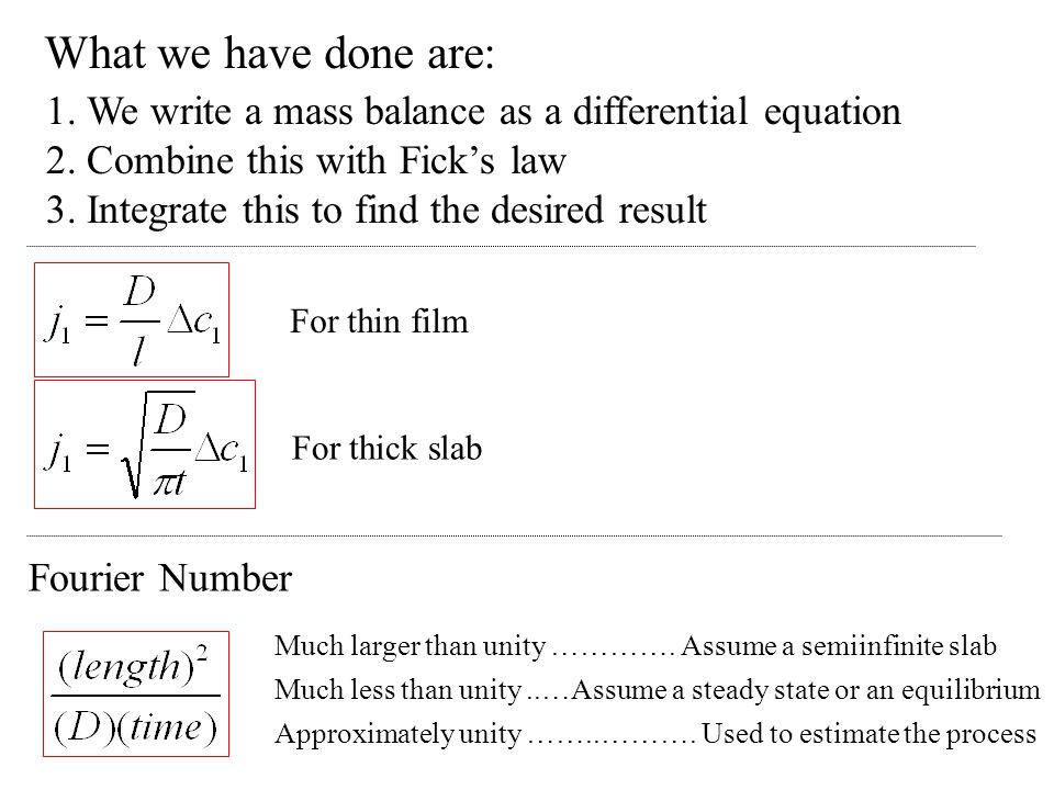 What we have done are: 1. We write a mass balance as a differential equation. 2. Combine this with Fick's law.