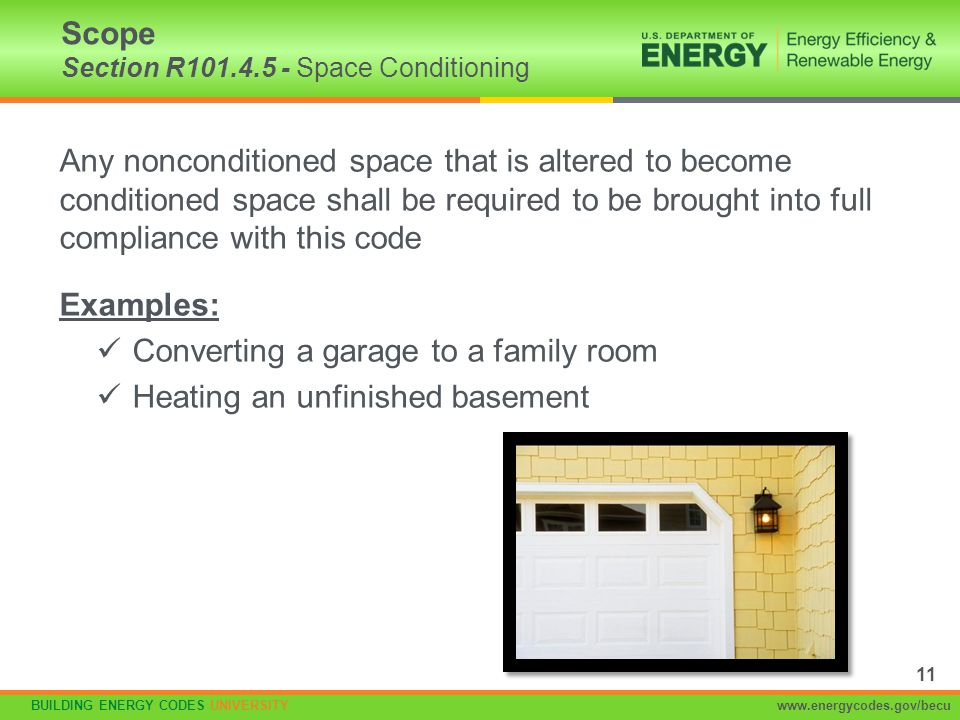 Scope Section R101.4.5 - Space Conditioning